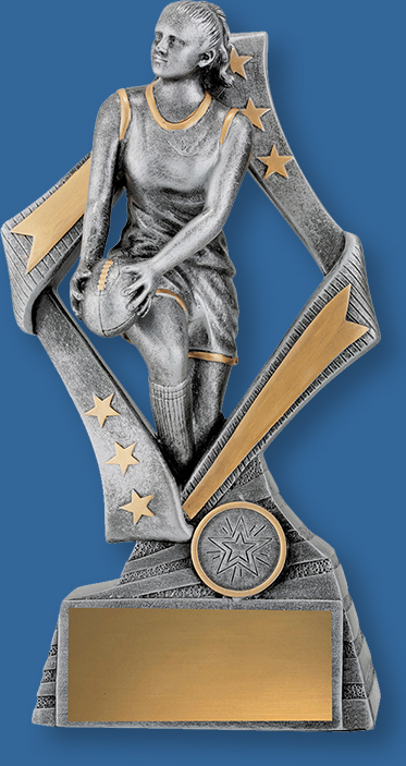 Aussie Rules Trophy Female Resin. Flag Series. Antique Silver and gold tone AFL trophies feature female player in action framed by a stylish star inspired design.