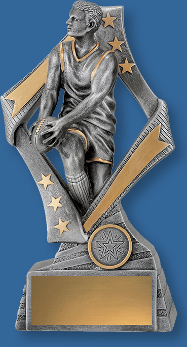 Aussie Rules Trophy Male Resin. Flag Series. Antique Silver and gold tone Aussie Rules trophies feature male player in action framed by a stylish star inspired design.