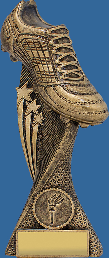 Aussie Rules Trophy Generic Resin. Boot Star Champion Series. Antique Gold tone Aussie Rules trophies with elevated boot with superb design details, multi-star detail.