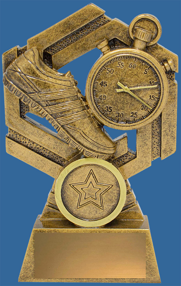 Track Athletics Trophy Generic Resin. Bronze tone theme trophy with stopwatch and running shoe details.