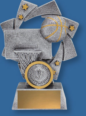 Astro Series. Basketball trophies gold stars swirl backdrop detailing antique silver ball and posts with gold trim stars.