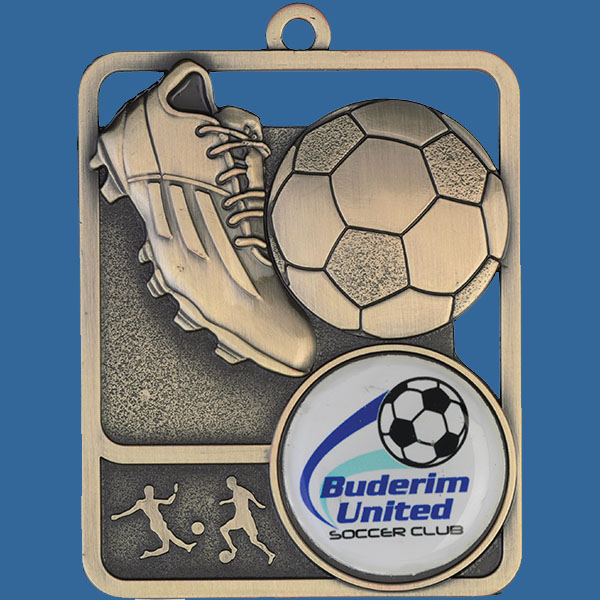 Football Rosetta Series Medal, Rectangle Shape Antique Gold 62mm height x 50mm width, Neck Ribbon included, Can be engraved to back