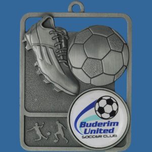 Football Rosetta Series Medal, Rectangle Shape Antique Silver 62mm height x 50mm width, Neck Ribbon included, Can be engraved to back