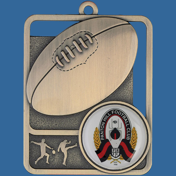 Aussie Rules Rosetta Series Medal, Rectangle Shape Antique Gold 62mm height x 50mm width, Neck Ribbon included, Can be engraved to back