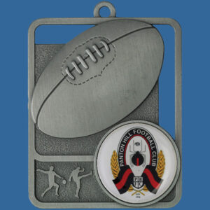 Aussie Rules Rosetta Series Medal, Rectangle Shape Antique Silver 62mm height x 50mm width, Neck Ribbon included, Can be engraved to back