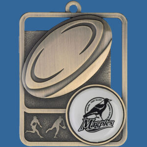Rugby Rosetta Series Medal, Rectangle Shape Antique Gold 62mm height x 50mm width, Neck Ribbon included, Can be engraved to back. Themed trophy Boot and Ball detail.