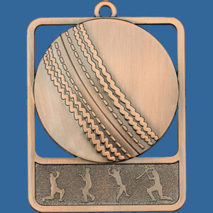 Baseball Rosetta Series Medal, Rectangle Shape Antique Bronze 62mm height x 50mm width, Neck Ribbon included, Can be engraved to back