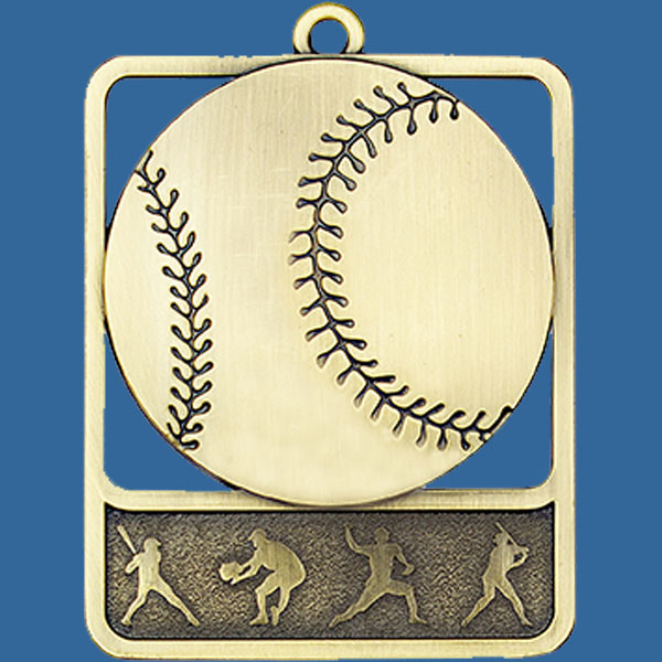 Baseball Rosetta Series Medal, Rectangle Gold 62x50mm with neck ribbon