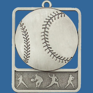 Baseball Rosetta Series Medal, Rectangle Shape Antique Silver 62mm height x 50mm width, Neck Ribbon included, Can be engraved to back