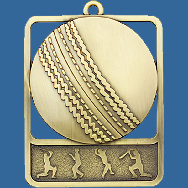 Cricket Rosetta Series Medal, Rectangle Shape Antique Gold 62mm height x 50mm width, Neck Ribbon included, Can be engraved to back