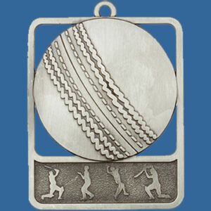 Cricket Rosetta Series Medal, Rectangle Shape Antique Silver 62mm height x 50mm width, Neck Ribbon included, Can be engraved to back