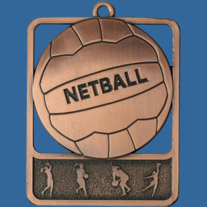 Netball Rosetta Series Medal, Rectangle Shape Antique Bronze 62mm height x 50mm width, Neck Ribbon included, Can be engraved to back