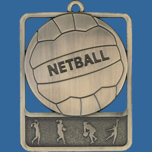 Netball Rosetta Series Medal, Rectangle Shape Antique Gold 62mm height x 50mm width, Neck Ribbon included, Can be engraved to back
