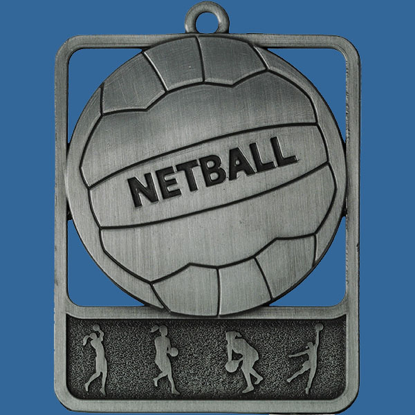 Netball Rosetta Series Medal, Rectangle Shape Antique Silver 62mm height x 50mm width, Neck Ribbon included, Can be engraved to back