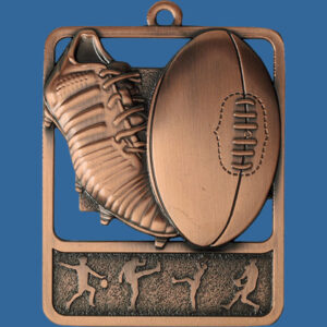 Aussie Rules Rosetta Series Medal, Rectangle Shape Antique Bronze 62mm height x 50mm width, Neck Ribbon included, Can be engraved to back. Themed Medal Boot and Ball.