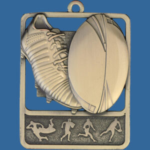 Rugby Rosetta Series Medal, Rectangle Shape Antique Gold 62mm height x 50mm width, Neck Ribbon included, Can be engraved to back. Medal Themel Boot and Ball detail.