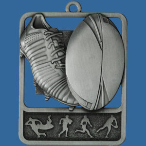 Rugby Rosetta Series Medal, Rectangle Shape Antique Silver 62mm height x 50mm width, Neck Ribbon included, Can be engraved to back. Medal Theme Boot and Ball detail.