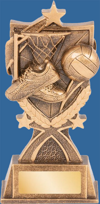 Netball Trophy Generic Resin. Kona Series. Antique Bronze with gold shade detailing boot, ball and net.