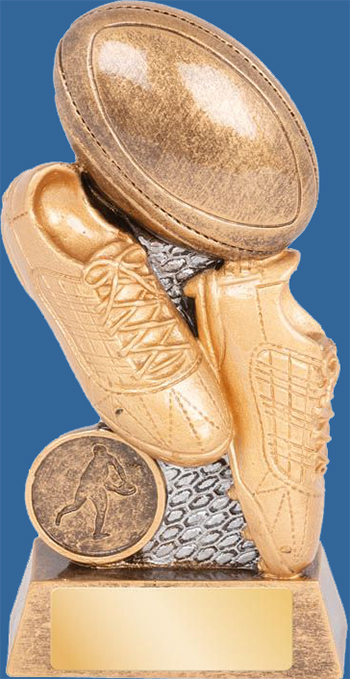 Rugby Trophy Generic Resin. Cyber Series. Antique Bronze with gold shade detailing boot, ball, posts and engraving plate.