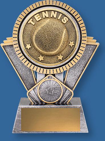 Heavy 3D enhanced Tennis Trophies design plus an appealing gold and silver colour combination.