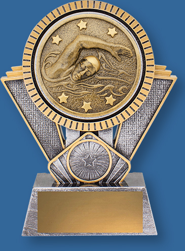 Spartan Series. Heavy 3D enhanced Swimming Trophies design plus an appealing gold and silver colour combination.