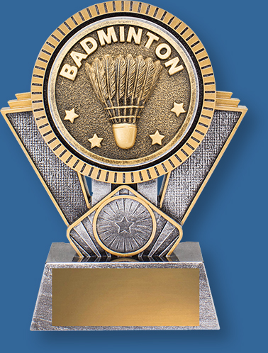 Badminton Trophy Generic Resin. Extra Heavy 3D enhanced design plus an appealing gold and silver colour combination.