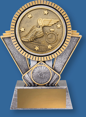 Heavy 3D enhanced Athletics Trophies and Track Trophies. This design shows an appealing gold and silver colour combination.