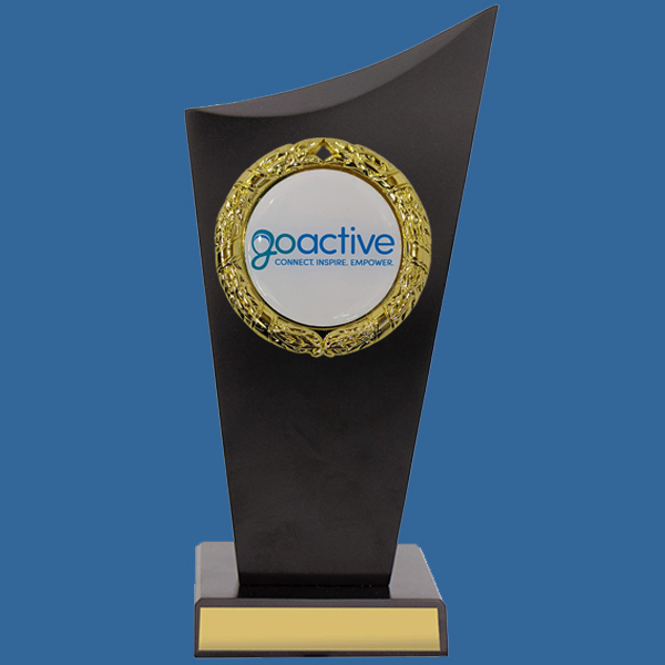 Timber Trophy with logo. Two piece black timber trophy with 50mm holder and custom design. can be engraved