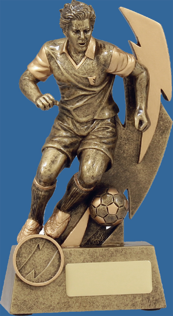 Football Trophy Male Resin. Shazam series features bronzed toned running player. Superb detail.