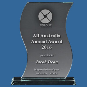 Glass Ribbon Award in 3 sizes, curved wave design, engrave with logo and text