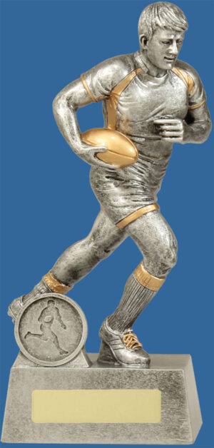 Rugby Trophy Male Resin. The Icon series for Rugby Trophies features an action rugby player sprinting and is finished in classic antique silver & gold.