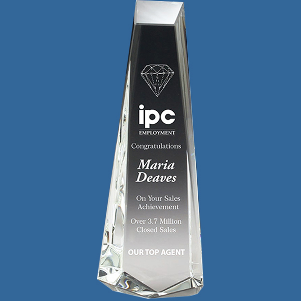 Crystal Award Plinth Style. Tall faceted crystal clear classic design. Boxed and engraved.