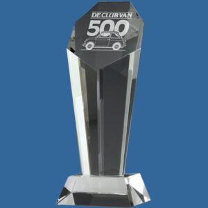 Tower like 2 piece Endurance Heptagon Crystal Award, quality sandblast engraving included.Presentation box included, quantity discounts