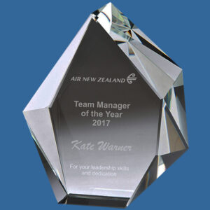 Glacier Optical Thick 60mm Crystal Award, 2 sizes. Freestanding single Custom Trophy with faceted reflective edging.