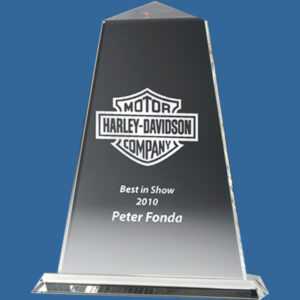 Tall two piece Custom Award in clear crystal. The Tribute Award series in clear, premium crystal presents an iconic pyramid design.
