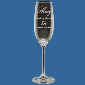 Champagne Glass 190ml, Quality Sandblast Engrave to 1 side, Qty Discounts
