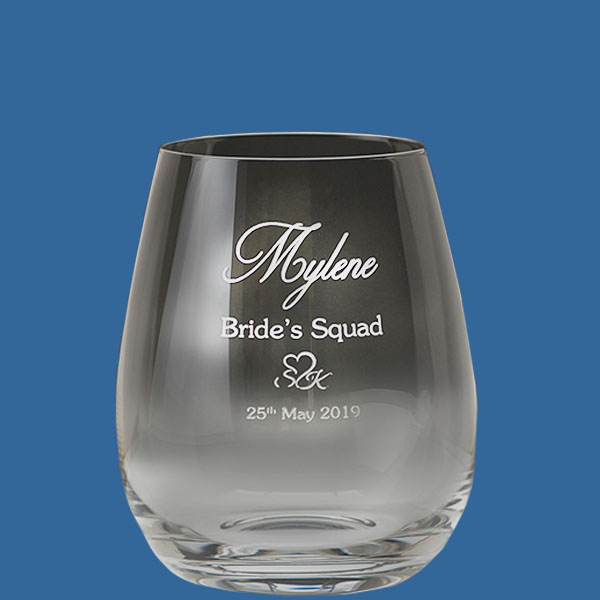 Stemless Wine Glass 500ml, Quality Sandblast Engrave to 1 side, Qty Discounts