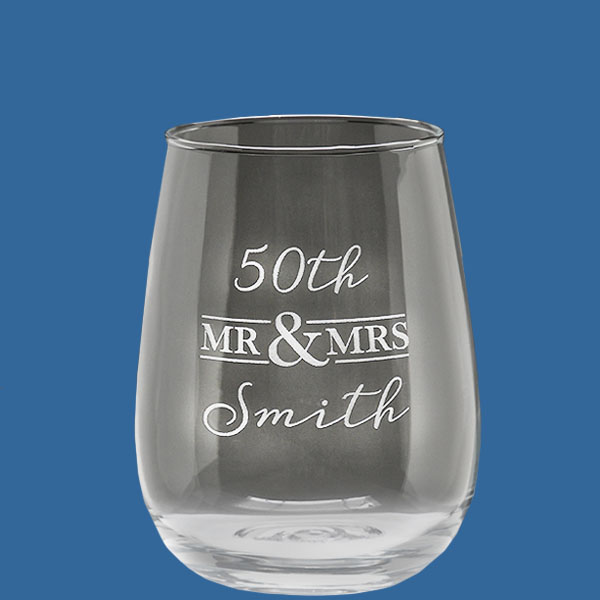 Value Stemless Glass 510ml, Quality Sandblast Engrave 1 side, Qty Discounts