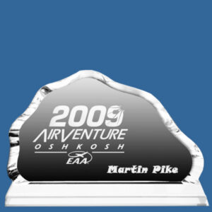 Crystal Mountain Award, quality sandblast engraving included, presentation box included, quantity discounts. Bevelled 2 piece Crystal Awards