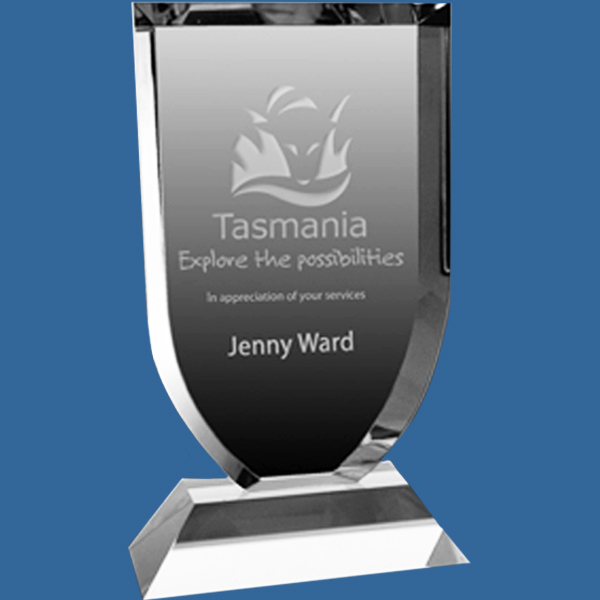 Two piece crystal award with classical bevelled edge.