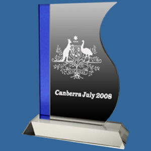2 piece freestanding crystal award. Crystal Clear Glass Trophy with vertical left hand blue edging.