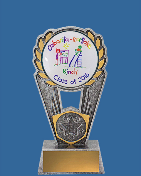 Grey with gold highlights solid resin Trophy. 50mm insert sector for standard or customised logos.