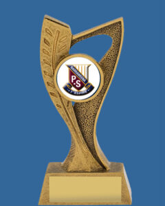 """12025_t Antique Gold Logo Resin Trophy with gold engraving plate and holder for 1"""" insert logo"""