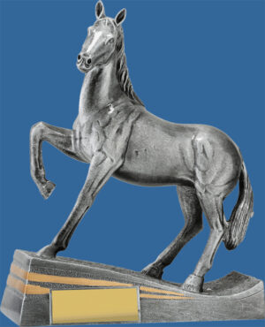 Equestrian Trophy Antique Silver Haughty Hoof Raised Detail. Large Trophy. Well designed Horse Award with Classic Pose.