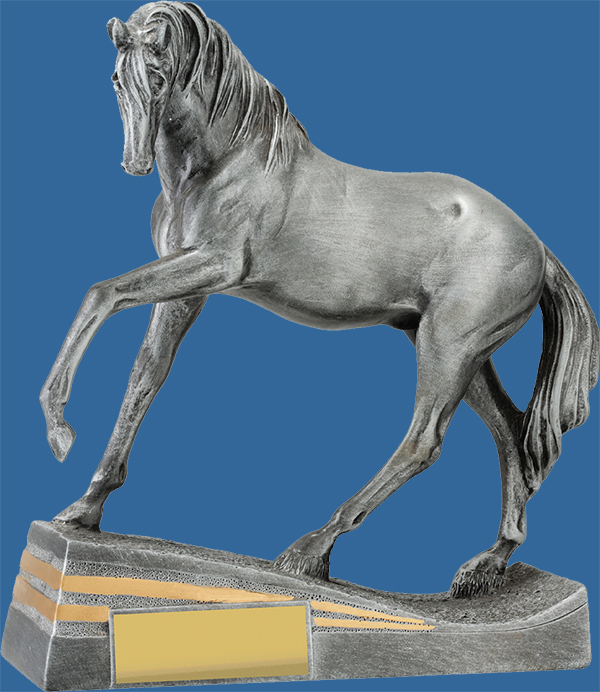 Horse Equestrian Trophy Antique Resin Pose detail. Large Horse Trophy Antique Silver with hoof raised pose.