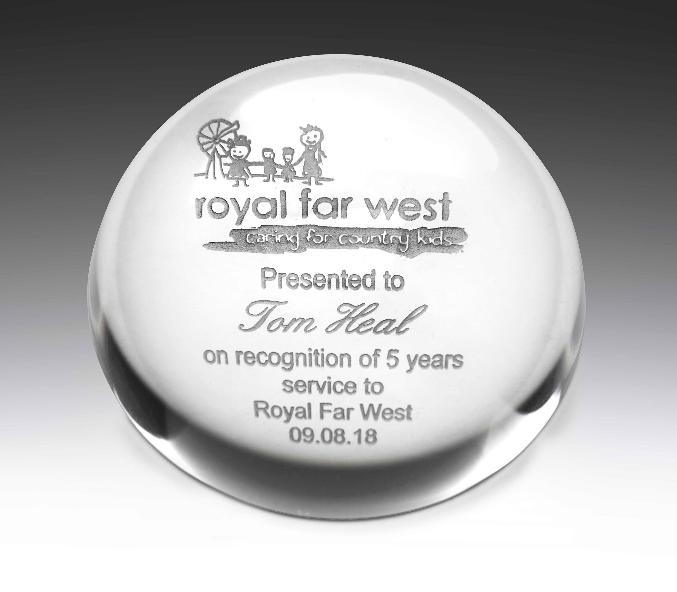 Custom Crystal Award Desk Paperweight. Domed crystal circular shape in gift presentation box.