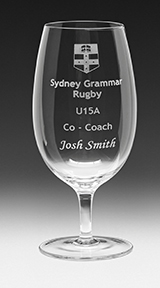 Tulip Shaped Wineglass. Clear and uncut for sandblasting logos and text.