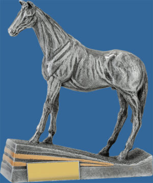 Horse Trophy Silver Resin. Alert Standing Pose. A detailed and beautifully sculptured Equestrian Trophy. No Saddle in the design.
