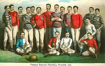 English Rugby Players 1881. Picture is classic arms crossed formal stand and seated.