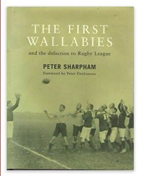 Peter Sharpham's 2020 Book on the First Wallabies depicting a lineout from the series on the cover.